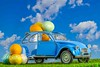 1856-Car with Easter eggs.jpg (Look in a lens) Tags: grass tradition gift old concept fun retro vintage decorative background holiday clouds egg easteregg spring food season design bright blu car decoration sky green toy yellow easter white