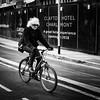 Einstein a go go (Kieron Ellis) Tags: man bike street blackandwhite blackwhite monochrome shades sunglasses bag gloves einstein