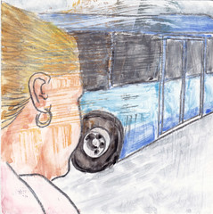 # 285 2018-03-24 (h e r m a n) Tags: herman illustratie tekening drawing illustration dagboek diary journal mijnleven mylife back rug rucke ruggenfiguur ruckenfigur 10x10cm tegeltje karton carton cardboard kunst art meisje girl bus busstastion station utrecht arriva bus387 lertrekken halte busstop