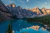 Moraine Lake sunrise (deirdre.lyttle) Tags: rocky mountains moraine lake banff national park alberta canada sunrise reflections canoes