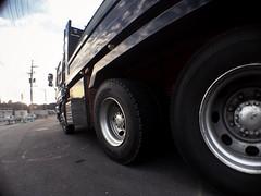 Big tires of the hyper machine (U-ichiro1003) Tags: street snap iphonese hipstamatic wide lens fisheye