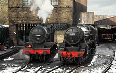 LMS Visitors In Haworth Yard. (Neil Harvey 156) Tags: steam steamloco steamengine steamrailway railway 53808 44871 43924 75078 haworthyard haworth keighleyworthvalleyrailway kwvr worthvalleyrailway sd7f 7f lms black5 stanier