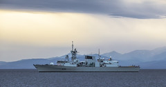 HMCS Calgary (Paul Rioux) Tags: marine warship hmcs calgary ship vessel frigate canadian forces royalcanadiannavy navy naval military salishsea clouds prioux sea boat water mountain sky ocean