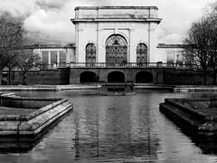 Trent Embankment Memorial Gardens (Andy Sut) Tags: nottingham trentembankment reflection victoriawarmemorial gardens victorian war memorial monochrome blackandwhite bw pond lumix andysutton bridgecamera amateur