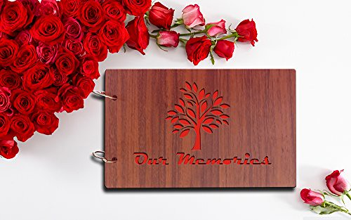 Sehaz Artworks 'Our Memories' Pasted Wood Photo Album (22 cm x 16 cm x 4 cm, Brown)