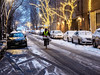 Delivery Man (deepaqua) Tags: uws upperwestside winter nyc auto dusk tree evening bicycle snow