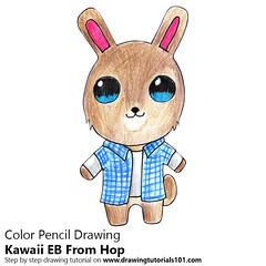 Kawaii EB From Hop (drawingtutorials101.com) Tags: kawaii eb from hop character characters cartoons cartoon how draw drawings color pencil drawing coloring with pencils