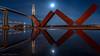 New West (Robert Henrickson) Tags: newwestminster waterfrontpark britishcolumbia fraserriver bridges longexpoosure lightrails reflections fullmoon beautifulbritishcolumbia vancouverisawesome moonlit lowlight skytrain