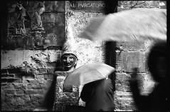 (Projection) (Robbie McIntosh) Tags: leicamp leica mp rangefinder streetphotography 35mm film pellicola analog analogue negative leicam analogico blackandwhite bw biancoenero bn monochrome argentique dyi selfdeveloped filmisnotdead autaut candid strangers leicaelmarit28mmf28iii elmarit28mmf28iii elmarit 28mm kodaktrix kodak trix d76 kodakd76 pulcinella statue umbrella women