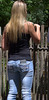 At The Zoo (Scott 97006) Tags: woman female lady blonde jeans pretty rear