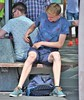 IMG_5982 (Skinny Guy Lover) Tags: outdoor guy man sit sitting seated shorts bulge blond slender