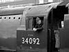 34092 Driver - Mono (wontolla1 (Septuagenarian)) Tags: elr east lancs lancashire railway cityofwells loco locomotive steam engine platform 3 black white blackwhite mono monochrome 34092 volcano driver fireman golden arrow