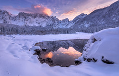 Sunset in the mountains (Dreamy Pixel) Tags: background beautiful blue clean clouds cold destination europe forest frozen fusine hill ice italy lake lakes landmark landscape leisure mirror mountain natural nature outdoor park peak recreation reflection rock scenic shot sky snow sport stone sunset tarvisio tourism travel tree vivid walk wallpaper water white wild wilderness wildlife winter wood ngc