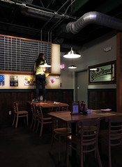 Up to the task (SteveMather) Tags: brewkettle cleveland northeast ohio brew your own beer pulled pork bar brewonpremises spe chalkboard menu smartphotoeditor restaurant brewpub hand open ceiling hvac duct