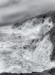 Westerly Gales, Trevose Lighthouse (Mick Blakey) Tags: coastsurf storm cornish coastpath surf trinity trinityhouse blackwhite trevoselighthouse clouds coast coastline cold rugged waves stormy shipping trevosehead coastal seascape trevose cornwall roughsea dramatic