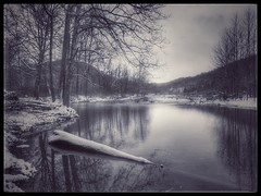 Late Winter Snowfall (Reprocessed) (DRCPhoto) Tags: iphone snapseed westvirginia cheatriver