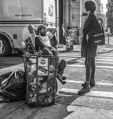 Trash Talk (J MERMEL) Tags: cityscapesurbanviews genres people portraits views trash can young man woman motorcycle