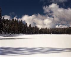 Frozen Lake (mattt1970) Tags: supergraphic nikkorw135mmf56 kodakektar100 largeformat lake film analog sky sierranevada california mountains winter snow clouds 4x5
