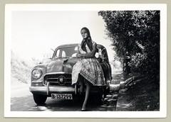 Seat 1400 A (Vintage Cars & People) Tags: vintage classic photo foto photography automobile car cars motor seat seat1400 vehicle antique auto lady woman fashion bracelet dress silkscarf headscarf 1950s fifties