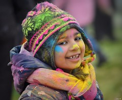Smiling child enjoying 'Holi' Celebrations in the cold snowy weather, in Leicester! (Nina_Ali) Tags: holi holifestivalleicester2018 hindu child colour paint vibrant fun smile nikond5500 3march2018 leicester abbeypark holifestival festivalofcolour spring2018 england
