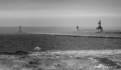 Fog Bank (mswan777) Tags: 1020mm sigma d5100 nikon ansel white black monochrome stjoseph michigan horizon light mist fog winter ice wave water weather lighthouse pier coast shore beach scenic nature outdoor