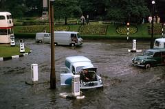 Rawtenstall,  Lancashire -  1964 (Lawrence Peregrine-Trousers) Tags: rossendale lancashire flood flooding cars motors 1960s motoring morris minor van austin j4