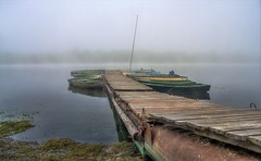 Silence. HDR (kud4ipad) Tags: 2016 prokhorovka ukraine morning pier fog mist boat dnieper water river hdr landscape smcpentaxda1645mmf40