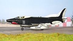 "1:72 Aeritalia G.91Y; aircraft ""32-13/M.M. 6494"" of the Aeronautica Militare (Italian Air Force) 13° Gruppo/32° Stormo 'Cap. Pil. Armando Boetto', carrying the unit's 70th anniversary paint scheme; Brindisi AB, 1988 (modified Matchbox kit) (dizzyfugu) Tags: 172 fiat aeritalia g91y gina fighter bomber attack aircraft anniversary scheme paint black white shark mouth apulia 70 anni years brindisi 1988 32 stormo 13 gruppo cap pil armando boetto matchbox modellbau conversion dizzyfugu mm6494 3213"