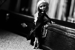"""This Old Guitar"" (jessandgrace) Tags: doll portrait blackandwhite bw monochrome guitarcase black dress handmade knitwear dollclothes figure legs face eyes hair blonde darlingcharming everafterhigh eah pretty beauty glamour cute"