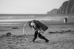 (RaminN) Tags: pacificnorthwest bw hulahoops mountain ocean oregon manzanita beach hooping