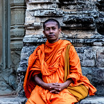 Monk at Pre Rup temple. Angkor, Cambodia thumbnail