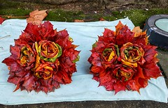 Bouquets of roses made from fallen maple leaves (elnina999) Tags: samsungs6 mobilephotography fall fallleaves colorful colors fallcolors handmade autumn bouquet bright brown decoration decorative flora foliage flower leaves nature outdoors plants sopot poland