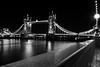 Tower Bridge (D. R. Hill Photography) Tags: london towerbridge riverthames city urban architecture bridge uk capital blackandwhite monochrome longexposure night nikon nikond7100 d7100 nikon18200mm 18200mm