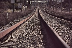 Railway (jimiliop) Tags: railway lines perspective train iron rock signs parallel toneddown athenssuburbanrailway greece greekrailways 118
