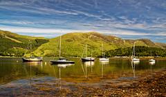 Loch Leven Moorings. (alan.irons) Tags: lochleven glencoe moorings sailing moored boats mountains nevisrange loch water landscape sunlight argyll scotland summer tidal