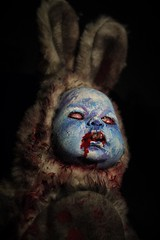 Hidey Ho... it's the Bunnyman! (Twila1313) Tags: bunny bunnyman easterbunny horrordoll doll upcycled artdoll handmade handpainted horror gothic legend scary creepy frightening easterbasket rabbit creature nightmare pansonicgf1