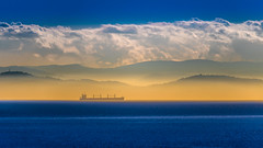 Can't Miss The Mist (RussellK2013) Tags: tanker boat ship sea ocean water waterscape landscape clouds mist d500 tc14eiii teleconverter prime outdoor travel 300mmf4epfedvr 300mm mountains gulfislands britishcolumbia canada