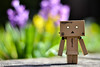 Springtime for Danbo (D. R. Hill Photography) Tags: danbo danboard toy nikon nikond3100 d3100 nikon50mmf18g 50mm bokeh spring flowers