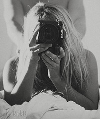 Selfie a Deux 02 (RickB500) Tags: portrait girl pair couple selfie bnw pentax bed