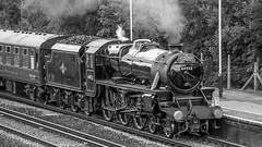 44932 Winchfield 5 August 2010 (7) (BaggieWeave) Tags: steamengine steamlocomotive steam steamtrain 44932 black5 blackfive hampshire winchfield cathedralsexpress 460 bw blackandwhite