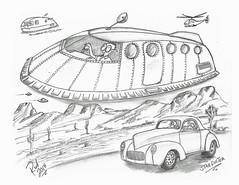 Starduster (rod1691) Tags: myart art sketchbook bw scifi grey concept custom car retro space hotrod drawing pencil h2 hb original story fantasy funny tale automotive illistration greyscale moonpies sketch sexy