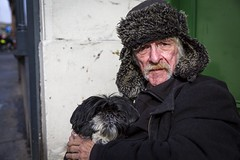 Casper The Friendly Pooch (Leanne Boulton) Tags: dog portrait urban street pose posed portraiture streetphotography streetportrait eyecontact streetlife sociallandscape old elderly man male homeless face eyes homelessness sadness cold winter expression pet animal doorway beggar moustache tone texture detail depthoffield bokeh naturallight outdoor sunlight light shade shadow city scene human life living humanity society culture people canon canon5d 5dmkiii 35mm wideangle closeup ef2470mmf28liiusm color colour glasgow scotland uk