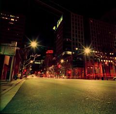Santa Clara Street at Night (bior) Tags: sanjose downtownsanjose santaclarastreet longexposure night lightstreaks downtown hasselblad500cm distagon lomochromepurple lomography purple lomopurple hoteldeanza mediumformat 120 6x6cm