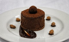 Chocolate tort with smoked sea salt almonds and chocolate sauce (ZanetaMaria) Tags: chocolate chocolatetorte seasalt sea desserts decor dessert sweet pastry chef almond smokedalmonds