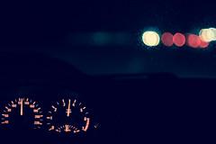 Driving Home (1durch0) Tags: car driving bokeh tacho night street lights auto speed