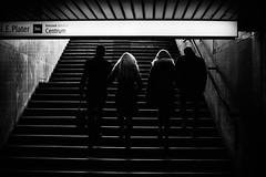 Ascend 189.365 (ewitsoe) Tags: bnw blackandwhite mono monochrome city urban people climbingstairs warsaw warszawa poland polska couples walking transit 189 365