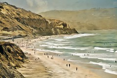 Shall I Compare Thee To A Summer's Day? (Christina's World-) Tags: torreypinesbeach painterly people hills naturepreserve beach ocean cliffs sand sandiego summer textures artistic art bright california delmar dramatic digitalart exotic impressionistic impressionism landscape nature nostalgia outdoors scenic torreypines texture unitedstates usa vintage view vacation water waves walking exoticimage lslowry