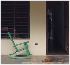 Siesta in Viñales (kurtwolf303) Tags: siesta cuba kuba person dog hund haustier chair stuhl door tür silhouette olympusem5 omd microfourthirds micro43 systemcamera mirrorlesscamera mft viñales unlimitedphotos kurtwolf303