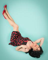 Cherry Dress (Hannah McKnight) Tags: grinkie hannah minneapolis minnesota vintage beautiful best boudoir fun pinup retro top tgirl transgender transgirl model crossdress crossdresser stilettos