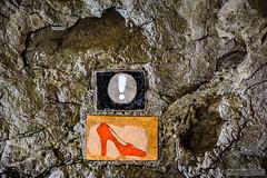 Wall Sticking Stone - Tbilisi - Georgia (zulkifaltin) Tags: georgia tbilisi gezi şehir zülkifaltınphotography country wall duvar şekil cafe kafe street sokak symbol sembol shoe heeled shoes stick stone